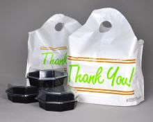 21x18x10 Take-Out Bags, Wave Top with Die Cut Handles