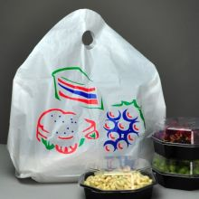 12x13x5 Take-Out Bags, Wave Top with Die Cut Handles